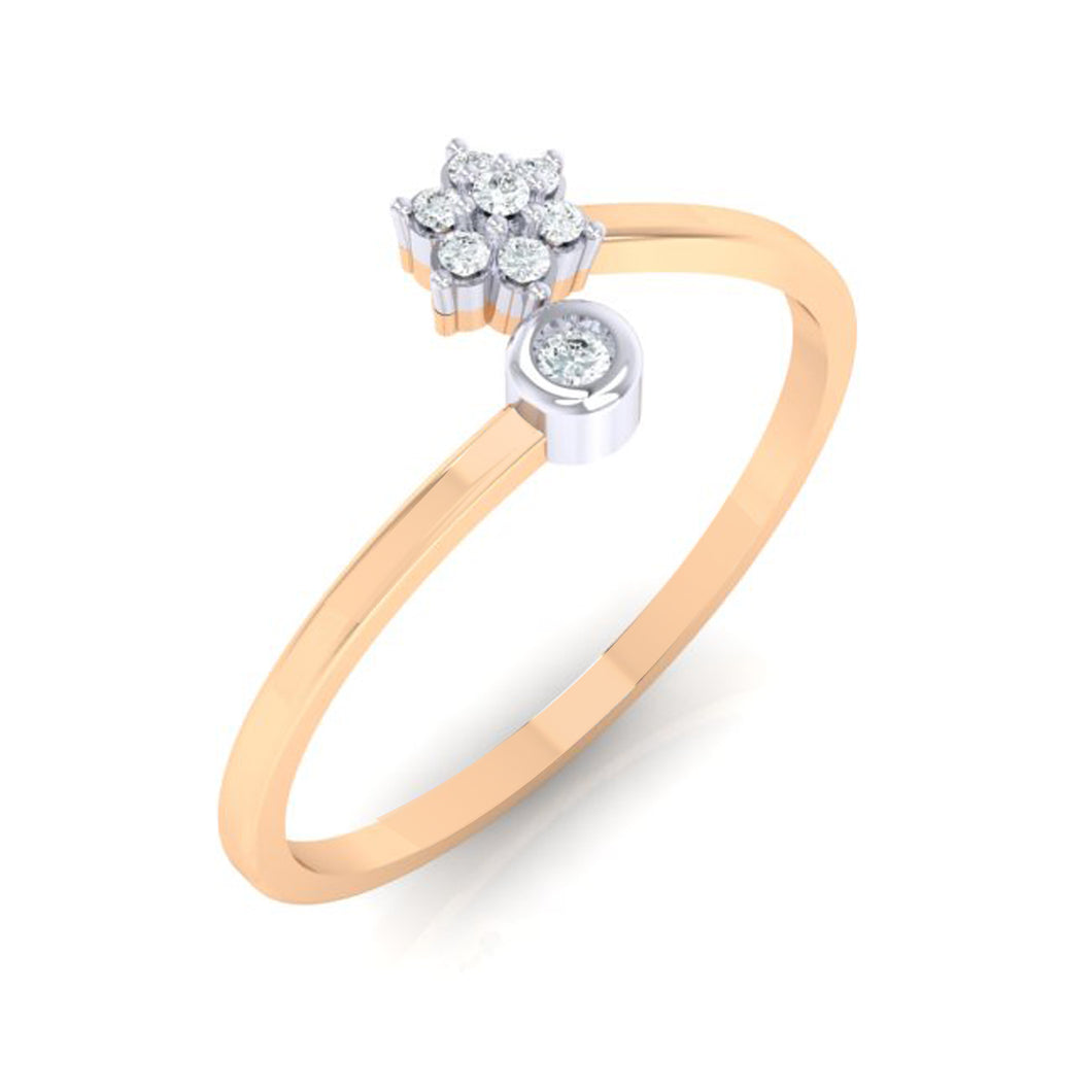 18Kt rose gold real diamond ring 57(1) by diamtrendz