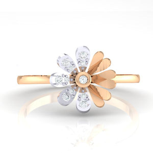 18Kt rose gold floral diamond ring by diamtrendz