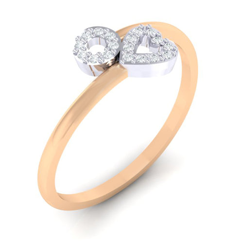 18Kt Gold Diamond Ring - Heart