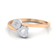 Load image into Gallery viewer, 18Kt rose gold heart diamond ring by diamtrendz
