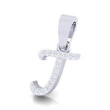 Load image into Gallery viewer, yellow gold alphabet initial letter 'j' diamond pendant - 2