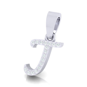 yellow gold alphabet initial letter 'j' diamond pendant - 2