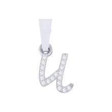 Load image into Gallery viewer, white gold alphabet initial letter 'u' diamond pendant - 1