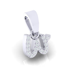 Load image into Gallery viewer, white gold alphabet initial letter 'w' diamond pendant - 3