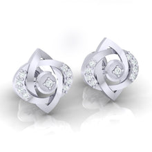 Load image into Gallery viewer, 18Kt white gold real diamond earring by diamtrendz