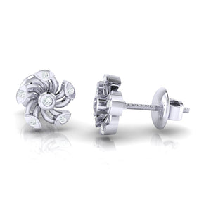 18Kt white gold real diamond stud earring 52(3) by diamtrendz