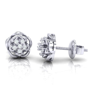 18Kt white gold real diamond stud earring 53(3) by diamtrendz
