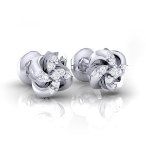 18Kt white gold real diamond stud earring 54(1) by diamtrendz