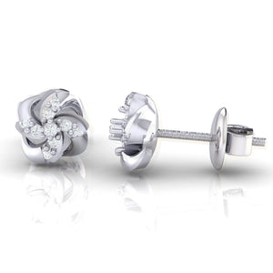 18Kt white gold real diamond stud earring 54(3) by diamtrendz