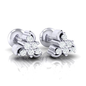 18Kt white gold real diamond stud earring 55(1) by diamtrendz