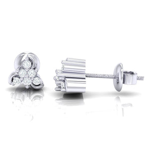 18Kt white gold real diamond stud earring 55(3) by diamtrendz