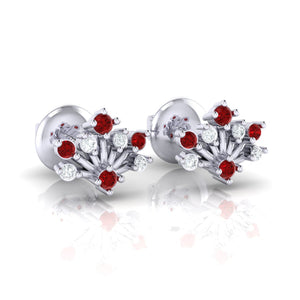 18Kt white gold real diamond stud earring 56(1) by diamtrendz