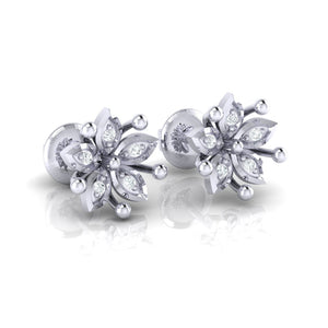 18Kt white gold floral diamond earring by diamtrendz