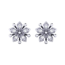 Load image into Gallery viewer, 18Kt white gold floral diamond earring by diamtrendz