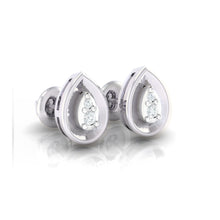 Load image into Gallery viewer, 18Kt white gold pear diamond earring by diamtrendz