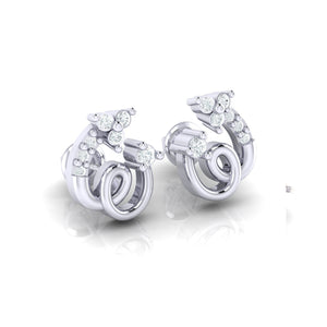 18Kt white gold spiral diamond earring by diamtrendz