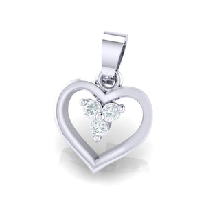18Kt white gold heart diamond pendant by diamtrendz