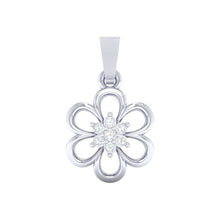 Load image into Gallery viewer, 18Kt white gold floral diamond pendant by diamtrendz