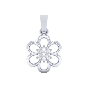 18Kt white gold floral diamond pendant by diamtrendz
