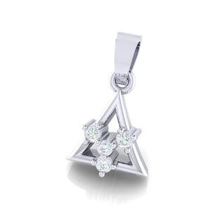 18Kt white gold triangle diamond pendant by diamtrendz