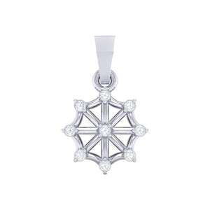 18Kt white gold wheel diamond pendant by diamtrendz