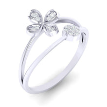 Load image into Gallery viewer, 18Kt white gold floral diamond ring by diamtrendz