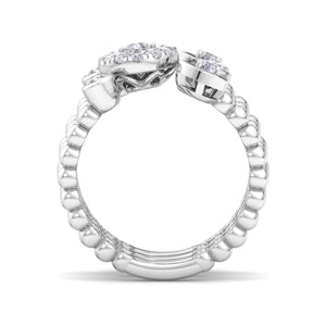 18Kt white gold designer heart diamond ring by diamtrendz