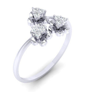 18Kt white gold real diamond ring 43(1) by diamtrendz