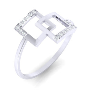 18Kt white gold real diamond ring 48(1) by diamtrendz