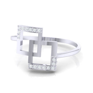 18Kt white gold real diamond ring 48(3) by diamtrendz