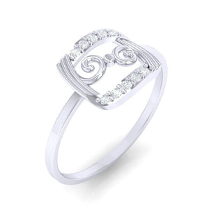 18Kt white gold real diamond ring 49(1) by diamtrendz