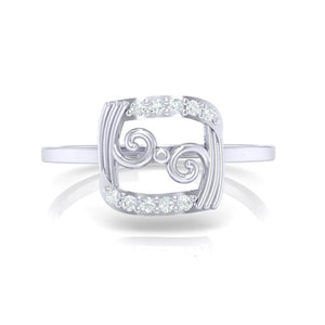 18Kt white gold real diamond ring 49(2) by diamtrendz