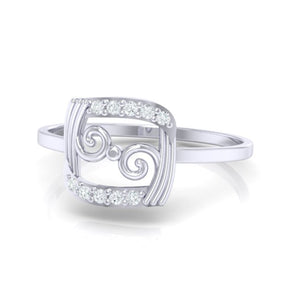 18Kt white gold real diamond ring 49(3) by diamtrendz