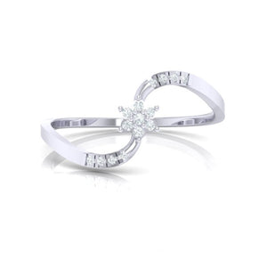 18Kt white gold real diamond ring 53(2) by diamtrendz