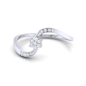 18Kt white gold real diamond ring 53(3) by diamtrendz
