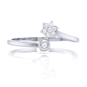 18Kt white gold real diamond ring 57(2) by diamtrendz
