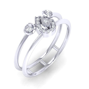 18Kt white gold pear diamond ring by diamtrendz