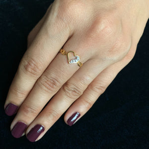 gold diamond heart ring real picture