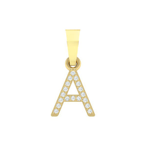 yellow gold alphabet initial letter 'A' diamond pendant - 1