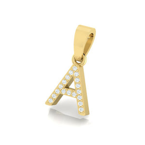 yellow gold alphabet initial letter 'A' diamond pendant - 2