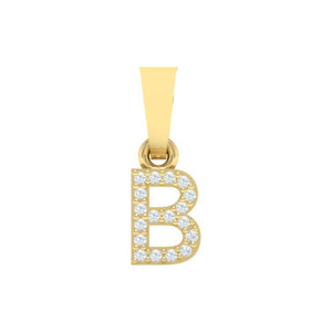 yellow gold alphabet initial letter 'B' diamond pendant - 1