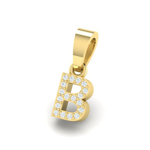 yellow gold alphabet initial letter 'B' diamond pendant - 2