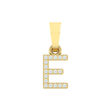 Load image into Gallery viewer, yellow gold alphabet initial letter 'E' diamond pendant - 1