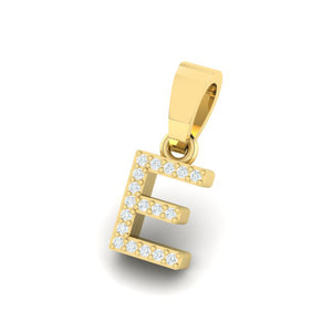 yellow gold alphabet initial letter 'E' diamond pendant - 2