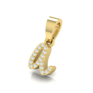 18Kt Gold Diamond Pendant - Small 'a' Initial Letter