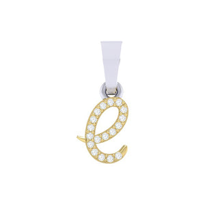 yellow gold alphabet initial letter 'e' diamond pendant - 1