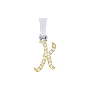 yellow gold alphabet initial letter 'K' diamond pendant - 1
