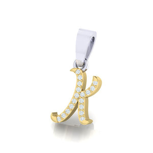 yellow gold alphabet initial letter 'K' diamond pendant - 2