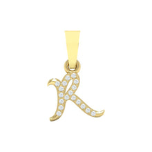 Load image into Gallery viewer, yellow gold alphabet initial letter 'R' diamond pendant - 1
