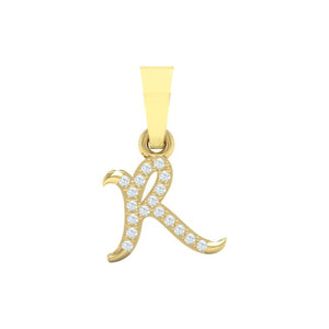 yellow gold alphabet initial letter 'R' diamond pendant - 1